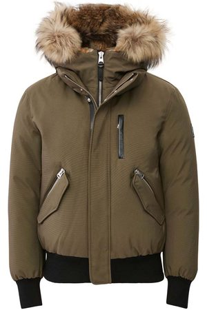 Mackage Muži Bombery - Dixon 2-in-1 Down Bomber with Hooded Bib and Natural Fur in Army