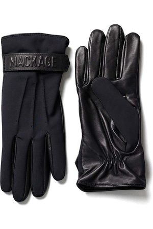 Mackage Oz Fleece and Leather Glove with Wrist Tab in Black