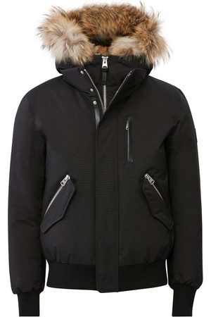 Mackage Dixon 2-in-1 Down Bomber with Hooded Bib and Natural Fur in Black