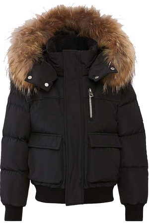 Mackage Bombery - Rolly Down Bomber with Natural Fur Trim Hood in Black