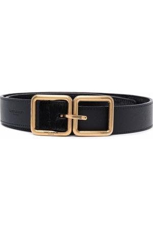 Saint Laurent Double-square buckle leather belt