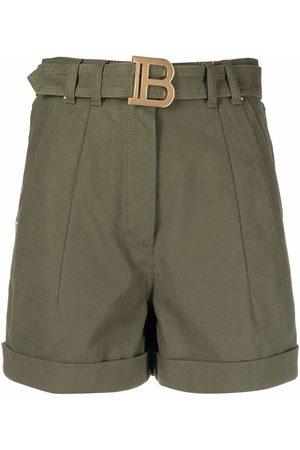 Balmain High-waisted logo-plaque shorts