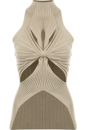 DION LEE Ribbed muscular-twist tank top
