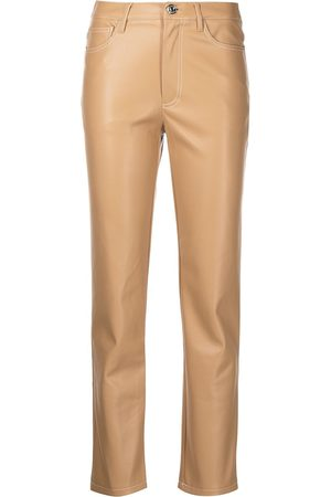 Staud Faux-leather cigarette trousers