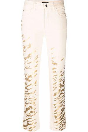 Roberto Cavalli Ženy Rovné nohavice - Foiled zebra-print trousers