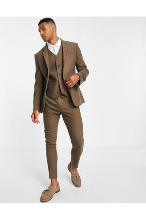 ASOS Muži Saka - Wedding super skinny wool mix suit jacket in camel herringbone-Neutral