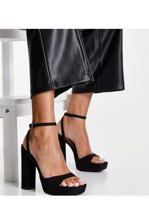 ASOS Ženy S otevřenou špičkou - Wide Fit Noun platform barely there heeled sandals in black