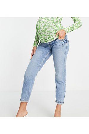 River Island Ženy Strečové - Comfort stretch overbump mom jeans in mid blue