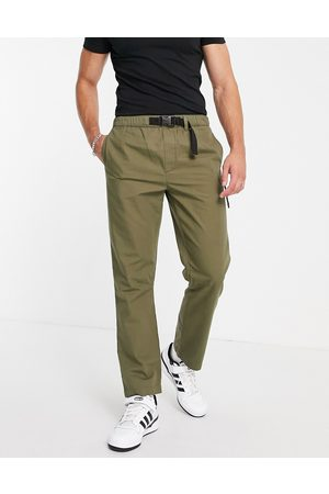Topman Muži Chino - Straight belted trousers with seam deatil in khaki-Green