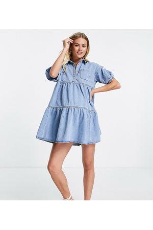 River Island Ženy Volnočasové - Smock denim shirt dress in light blue