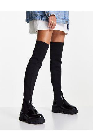 ASOS Ženy Nad kolena - Kimmy flat chunky over the knee boots in black