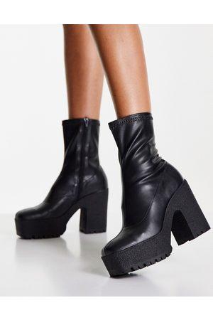 ASOS Ženy Na podpadku - Elena high heeled sock boots in black