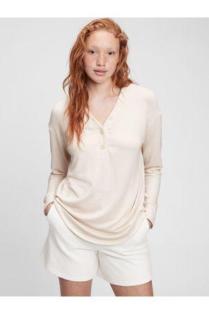 GAP Smetanové dámské tričko long sleeve henley