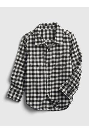 GAP Černá klučičí košile kostkovaná flanelová