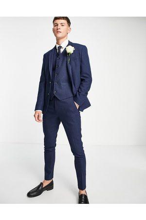 ASOS Wedding super skinny wool mix suit jacket in navy herringbone