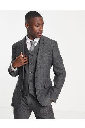 ASOS Muži Saka - Wedding skinny wool mix suit jacket in charcoal herringbone-Grey