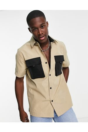 Topman Short sleeve shirt in stone with contrast pockets-Neutral