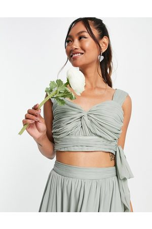 ASOS Ženy Crop top - Bridesmaid ruched crop top with wrap detail co-ord-Green
