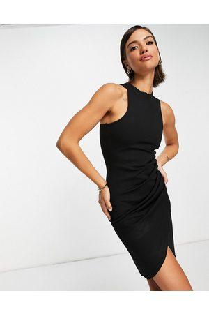 Extro & Vert Ženy Přiléhavé - Racer back bodycon dress in black