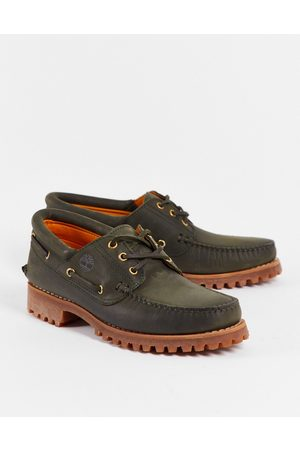 Timberland Muži Pohorky - Authentic 3 eye classic boat shoes in dark green