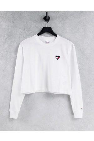 Tommy Hilfiger Ženy S dlouhým rukávem - Heart flag logo long sleeve top in white