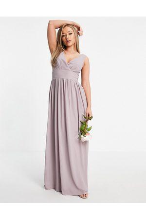 TFNC Ženy Zavinovací - Bridesmaid top wrap chiffon dress in light grey