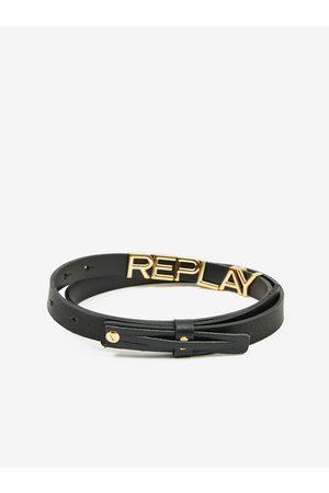 Replay Černý dámský kožený pásek