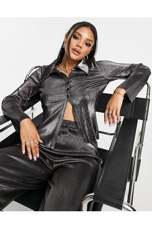 ASOS 00's plisse suit shirt co-ord in metallic-Silver