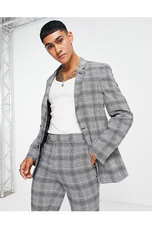 ASOS Muži Saka - Super skinny suit jacket in grey check