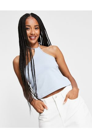 Weekday Ženy Crop top - Amity organic cotton one shoulder halter top in dusty blue