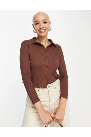 Miss Selfridge Chocolate long sleeve button through jersey shirt-Multi
