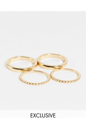 Reclaimed Vintage Inspired stacking ring pack in gold