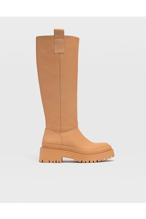 Stradivarius Ženy Nad kolena - Chunky sole high leg boots with side tab in brown