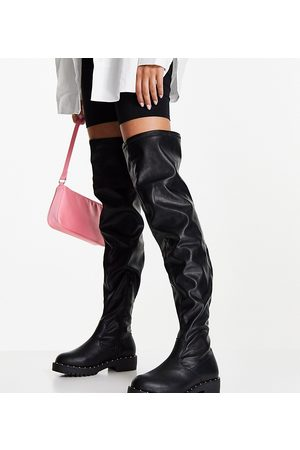 ASOS Wide Fit Kally flat over the knee boots in black