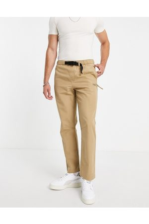 Topman Straight belted trousers with seam deatil in stone-Neutral