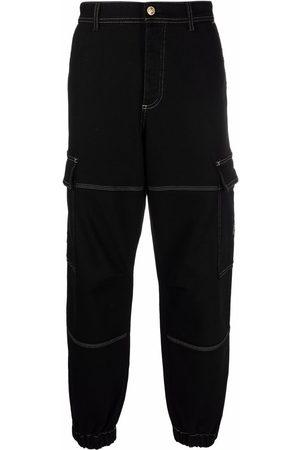 VERSACE Flap-pockets stretch-cotton straight-leg trousers