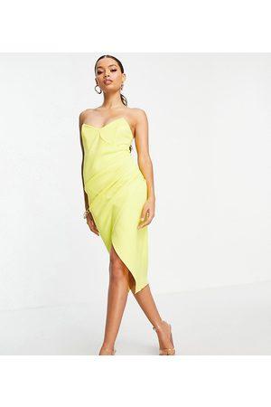 ASOS ASOS DESIGN Petite bandeau wrap tuck midi dress in yellow