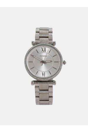 Fossil Dámské hodinky s nerezovým páskem ve stříbrné barvě Carlie
