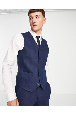 ASOS Muži Společenské vesty - Wedding skinny wool mix suit waistcoat in navy herringbone