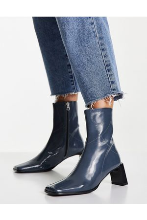 ASOS Rosa premium leather heeled ankle boots in blue