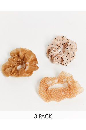 Topshop Organza 3 x multipack hair scrunchies in beige mix-Neutral