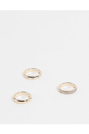 Topshop Etched star and pave rings 3 x multipack in gold