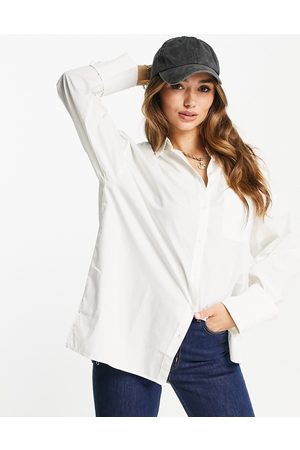 ASOS Long sleeve oversized dad shirt in cotton in white