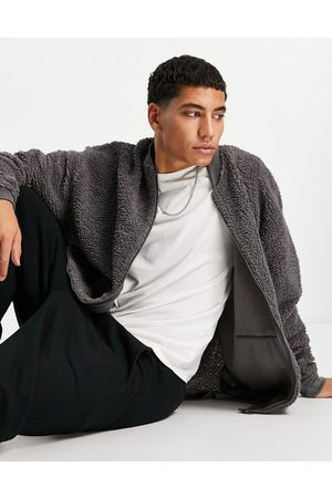 ASOS Muži Bombery - Oversized zip through bomber jacket in grey teddy borg with embroidered logo