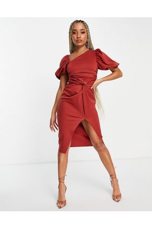 ASOS Ženy Asymetrické - Asymmetric puff sleeve knot tuck midi dress in terracotta-Copper