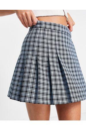 ASOS Pleated mini skirt in check-Multi