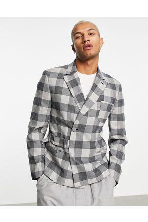 ASOS Muži Saka - Cropped suit jacket in grey check
