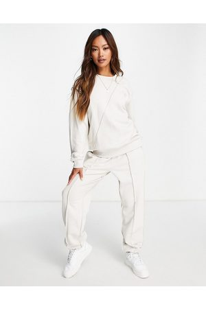 ASOS Ženy Mikiny - Exposed seam detail tracksuit hoodie / jogger in stone-Neutral