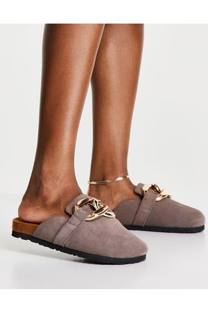 ASRA Ženy Dřeváky - Fiscal clogs in mauve suede with chain detail-Neutral