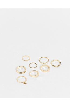 Topshop Ženy Prstýnky - Butterfly and heart 8 x multipack rings in gold